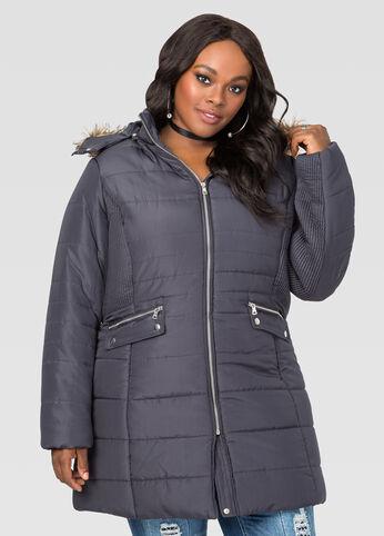 Pleated Puffer Winter Coat
