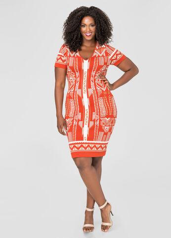 Tribal Jacquard Bodycon Dress