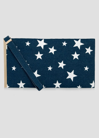 Star Denim Bar Wristlet Clutch