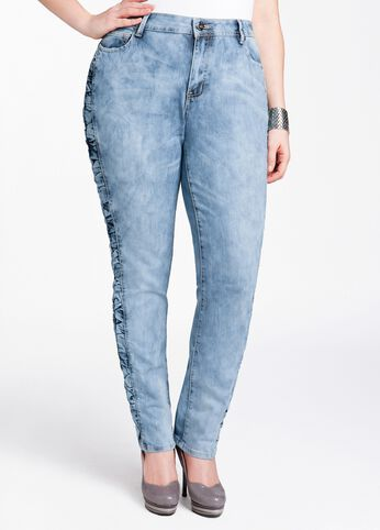 Rouched Skinny Leg Denim