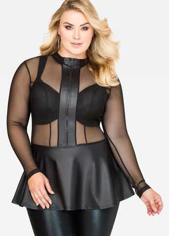 Mesh Faux Leather Peplum Top