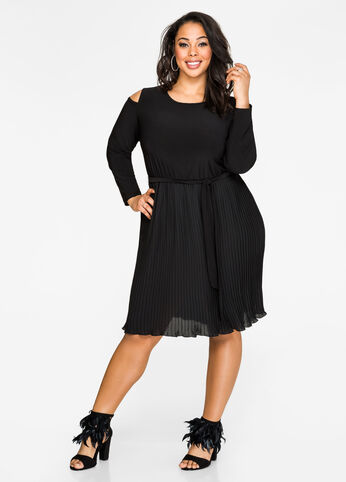 Cold Shoulder Accordion Pleat Dress