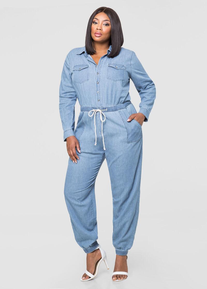 Denim Mechanics Jumpsuit-Plus Size Dresses-Ashley Stewart