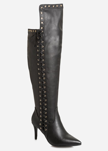 Grommet Over The Knee Boot - Wide Calf, Wide Width