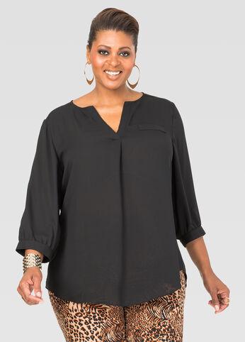 Plus Size Crepe 3/4 Sleeve Blouse
