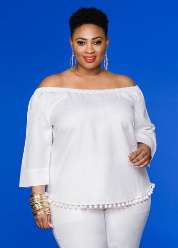 Pom Pom Off-Shoulder Linen Top