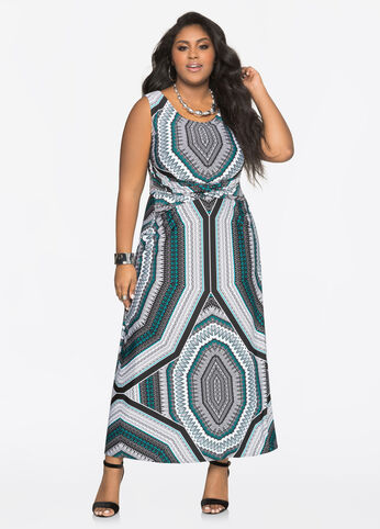 Printed Twist Waist Maxi Dress