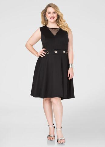 Plus Size Grommet Mesh Skater Dress in Black - Front