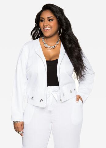 Grommet Linen Jacket