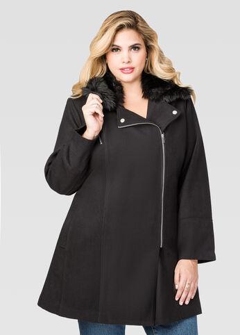 Wool Blend Fur Collar Winter Coat