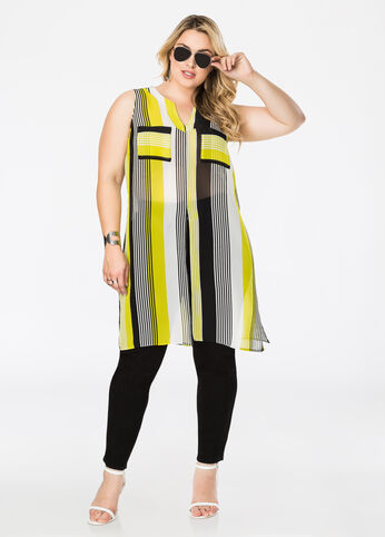 Sheer Slit Front Tunic Top