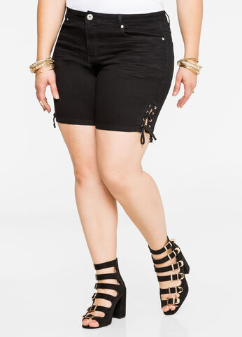 Buy Lace-Up Size Denim Short Black - Jeans