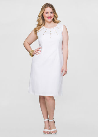 Linen Grommet Sheath Dress