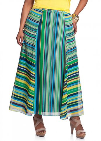 Multicolored Striped A-line Skirt