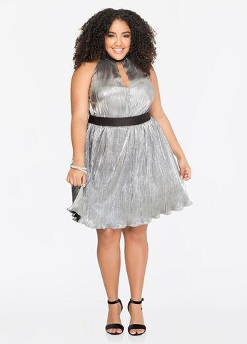 Metallic Plissé Pleat Halter Dress