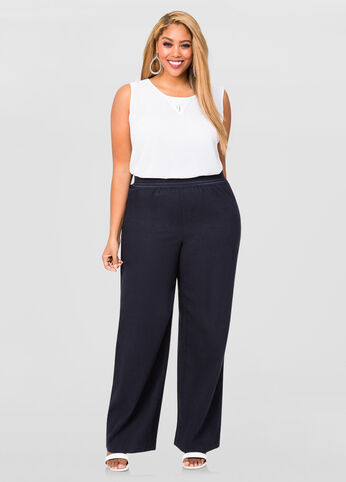 991feba125c3d Linen Wide Leg Pants-Plus Size Pants-Ashley Stewart-038-MVL16563P-