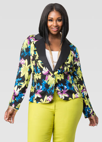 Contrast Lapel Floral Blazer-Plus Size Jackets-Ashley Stewart