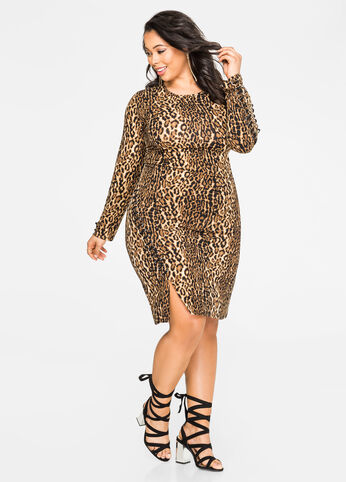 Leopard Exposed Zip Lace-Up Dress