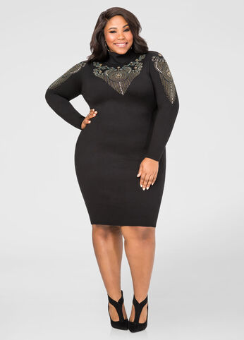 Embellished Bodycon Sweater Dress