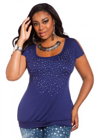Studded Peasant Top