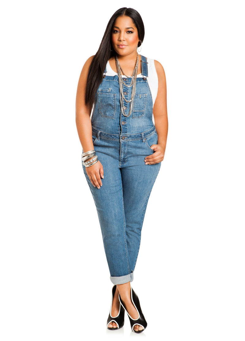 Skinny Overall Jeans - Ashley Stewart