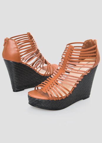 Caged Wedge Sandal - Wide Width