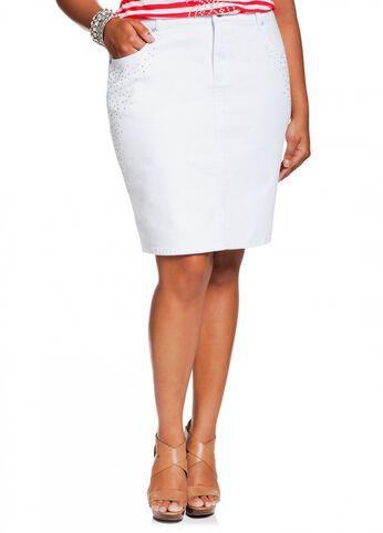 Scatter Rhinestone Denim Skirt