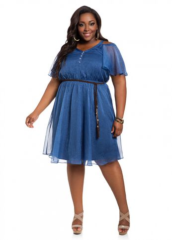 Chambray Chiffon Cold Shoulder Dress