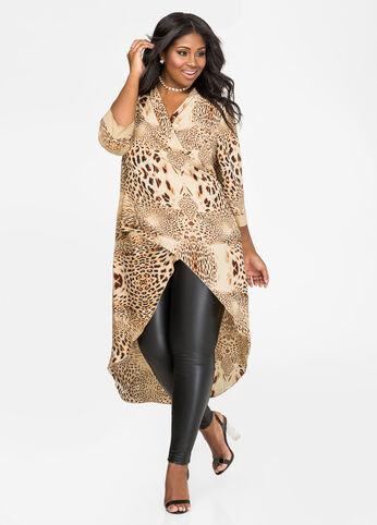 Leopard Surplice Hi-Lo Duster