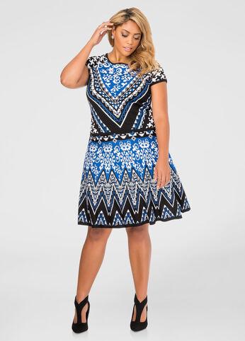 Geo Jacquard Flippy Skirt
