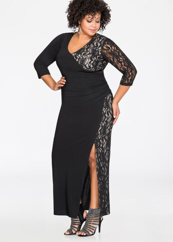 Metallic Lace Sexy Slit Gown