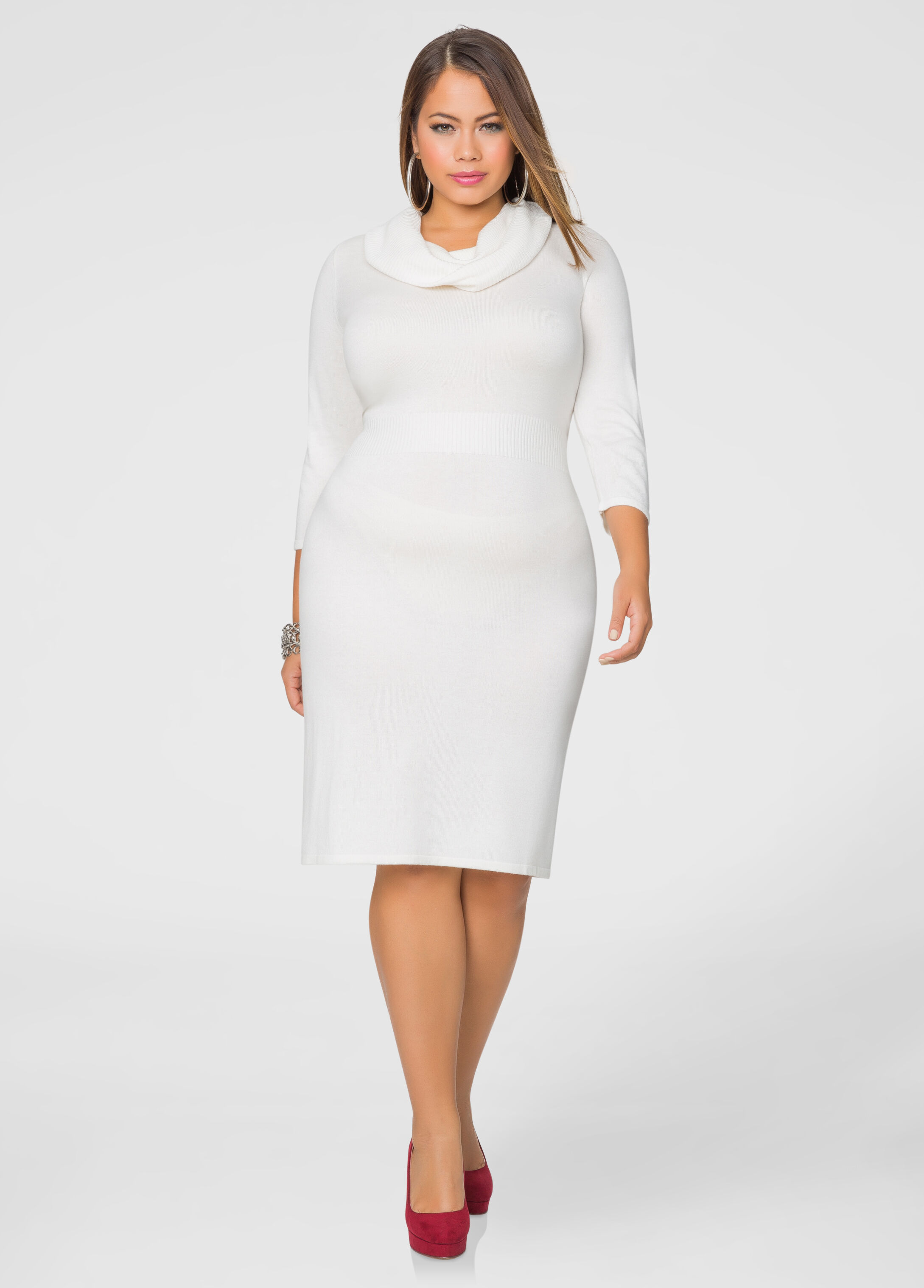 Cowl Neck Banded Sweater Dress-Plus Size Dresses-Ashley Stewart
