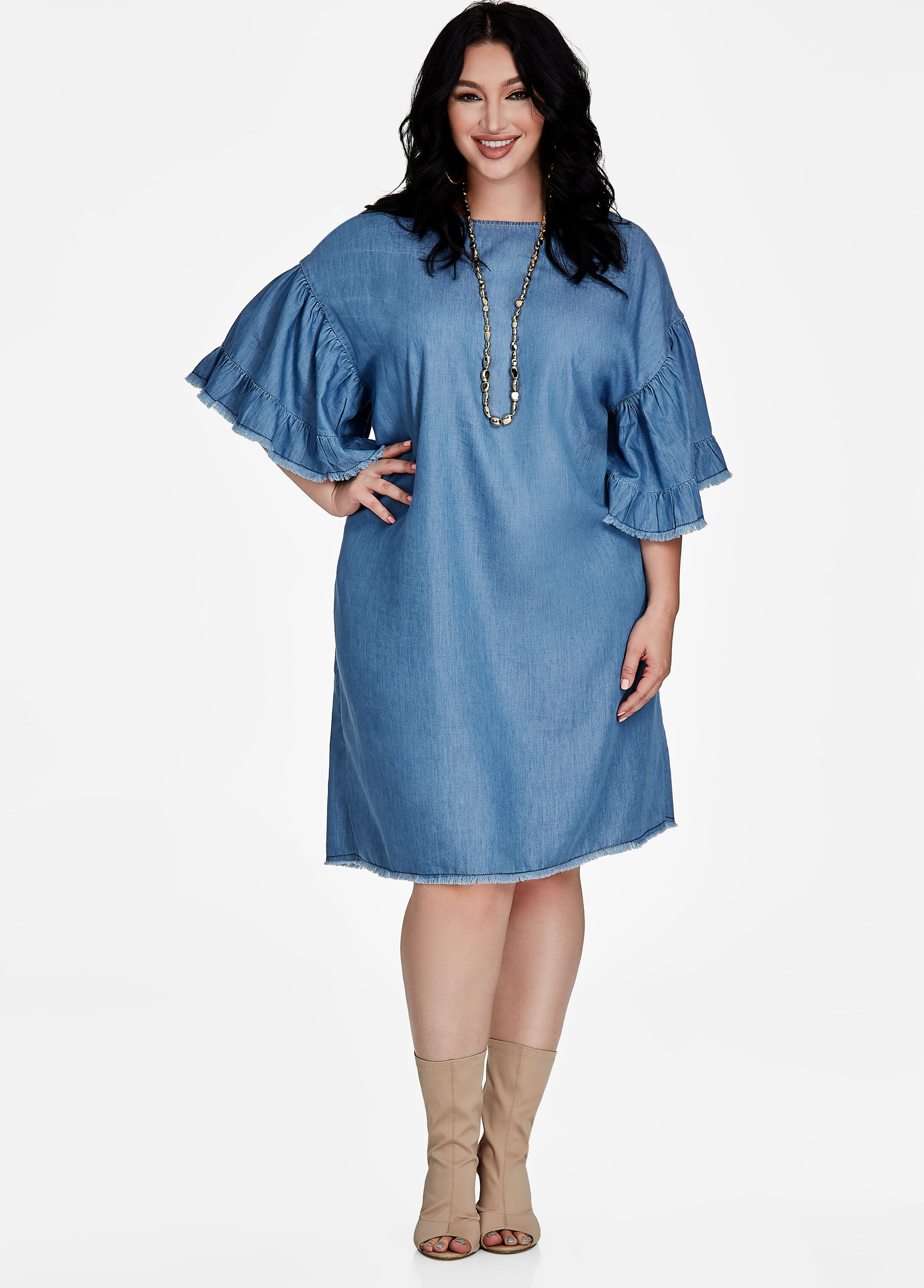 Fray Sleeve Jean Dress Indigo - Clearance