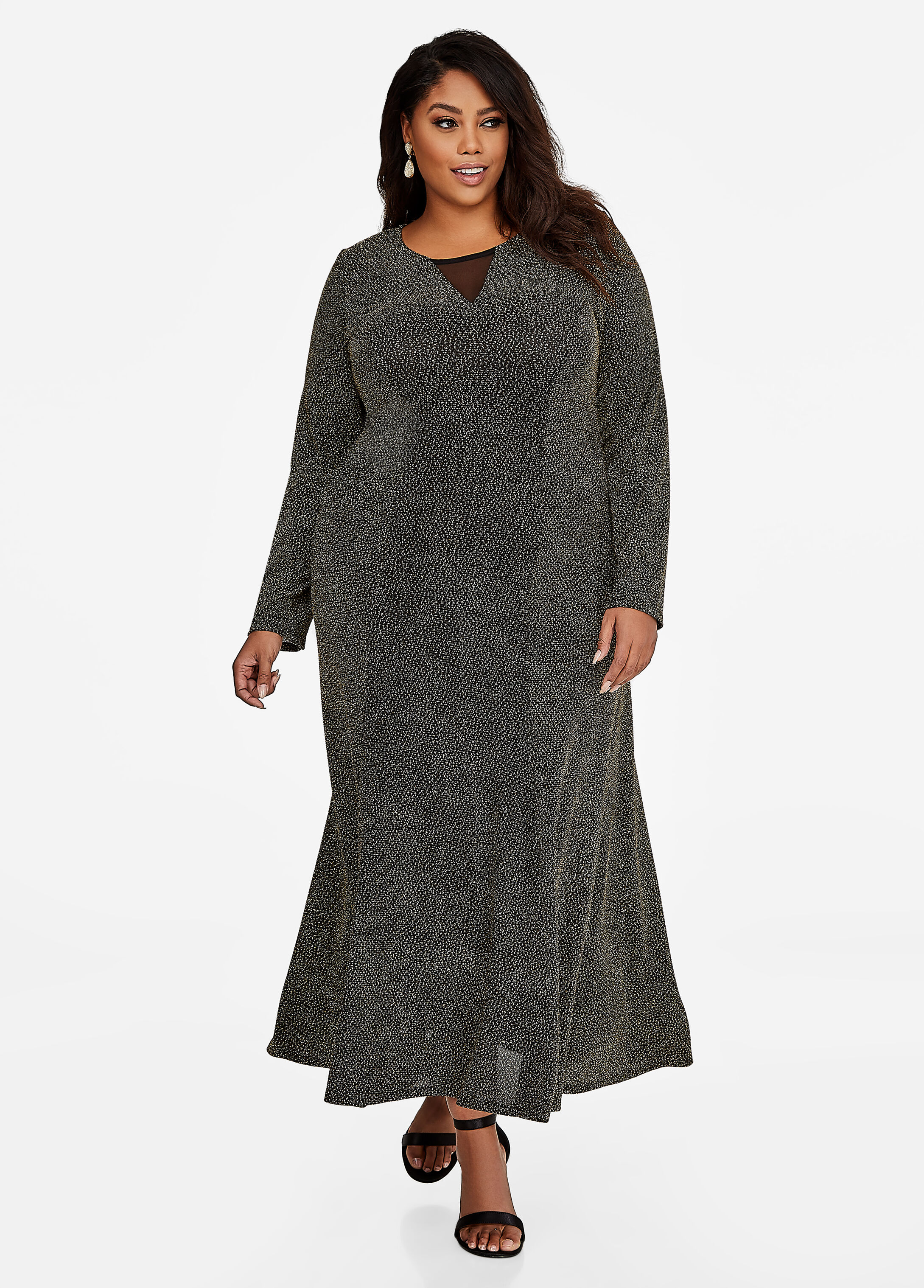 Mesh V-Neck Inset Metallic Gown
