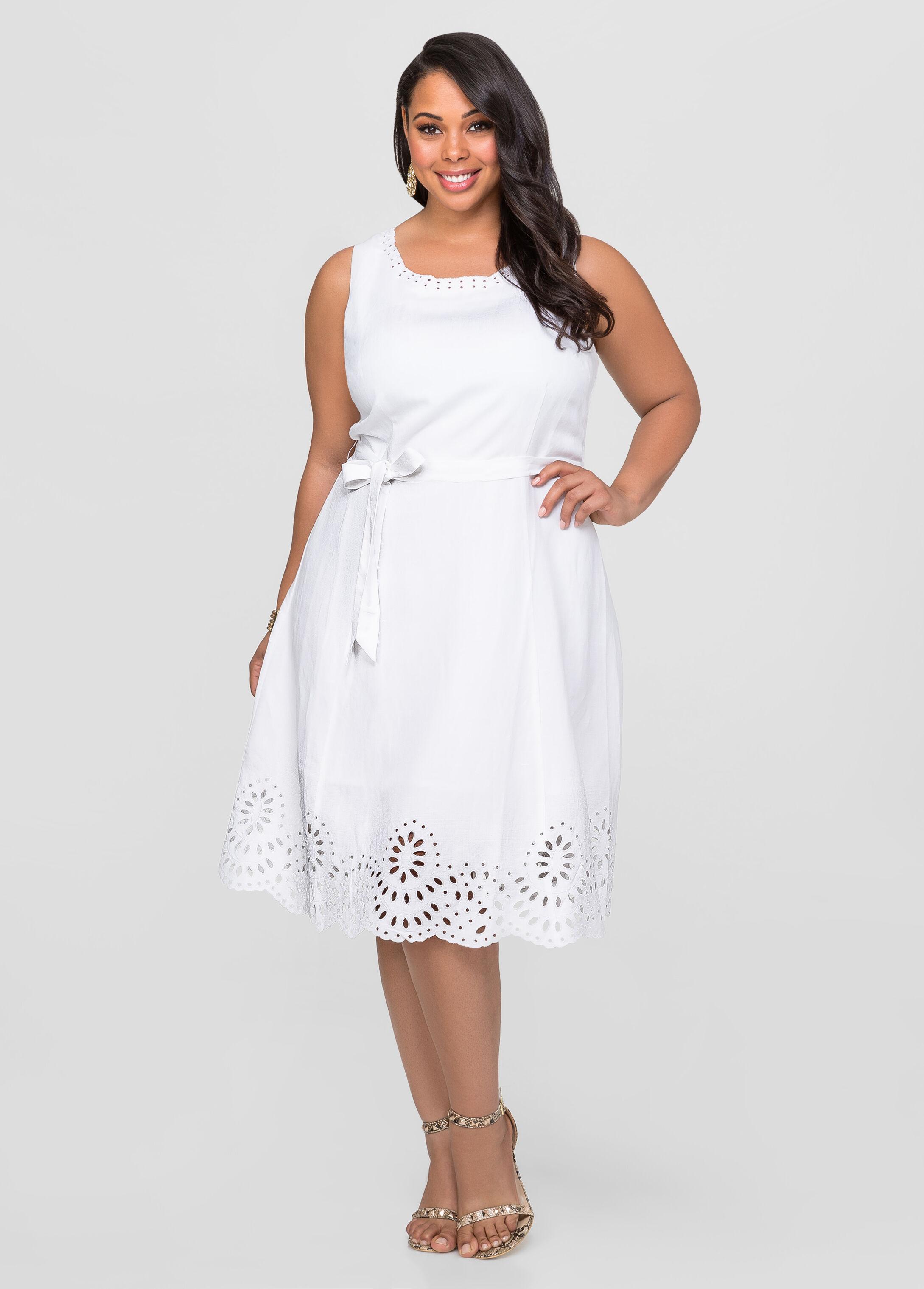Linen Eyelet A Line Dress Plus Size Dresses Ashley Stewart