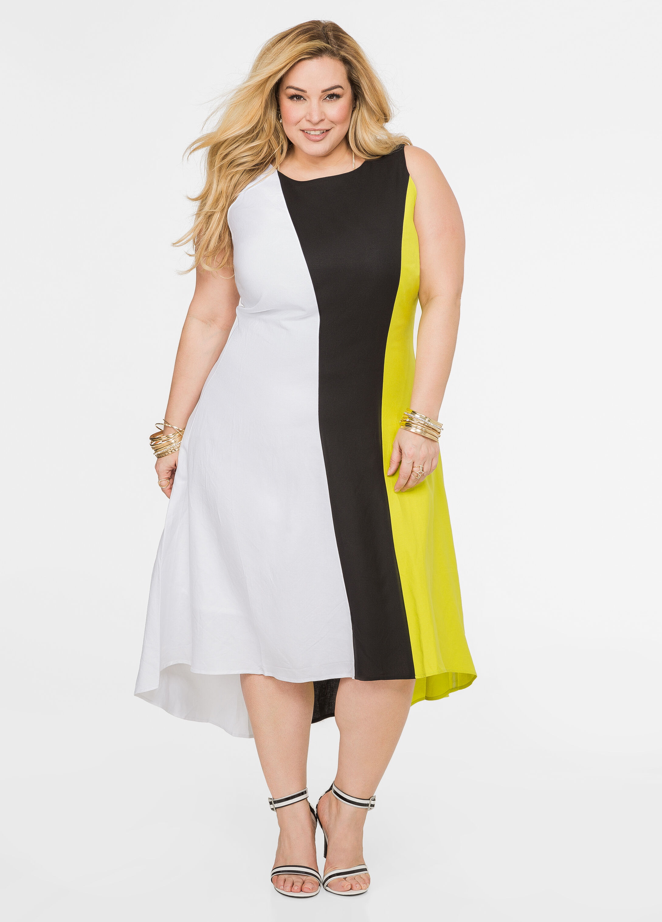 Tri-Tone Linen Midi Dress Mandalay Lime - Clearance