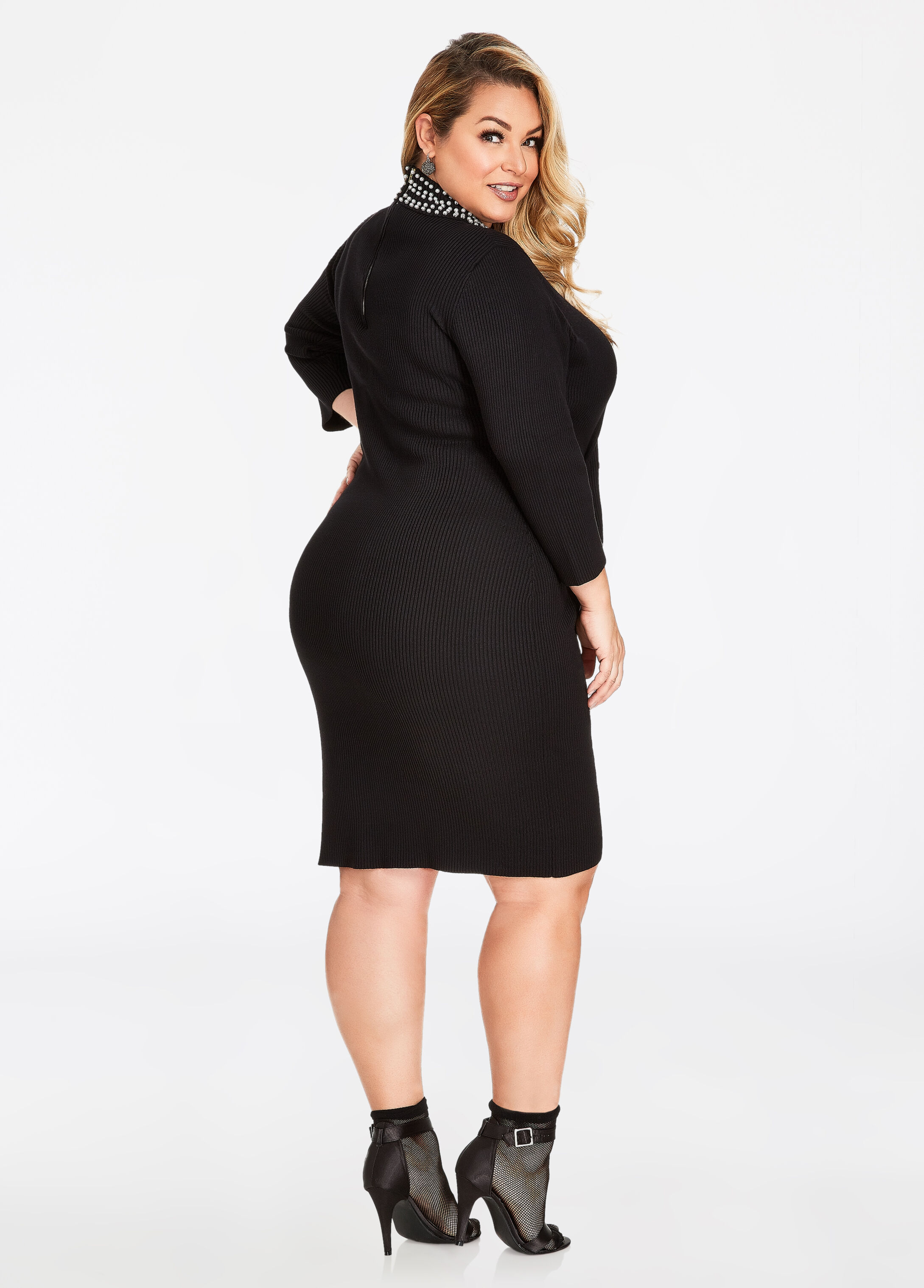 Plus Size Dress - Pearl Mock Neck Ribbed Sweater Dress