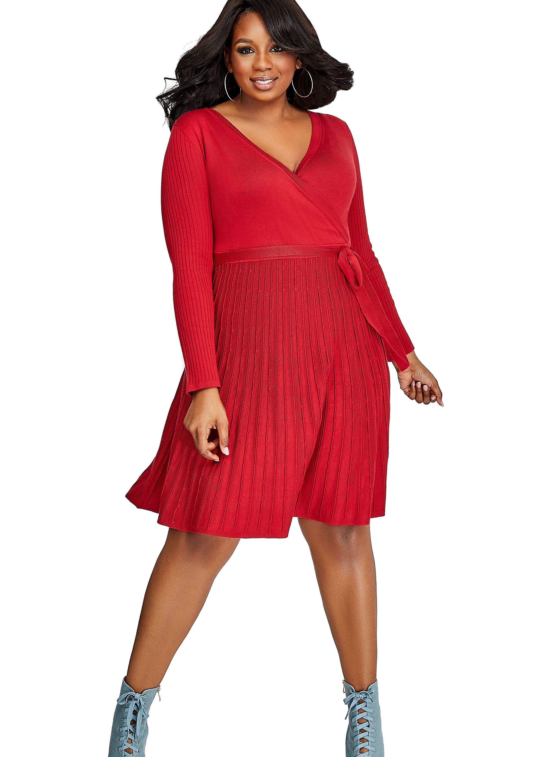 Buy Belted Faux Wrap Sweater Dress Scooter Red - Clearance