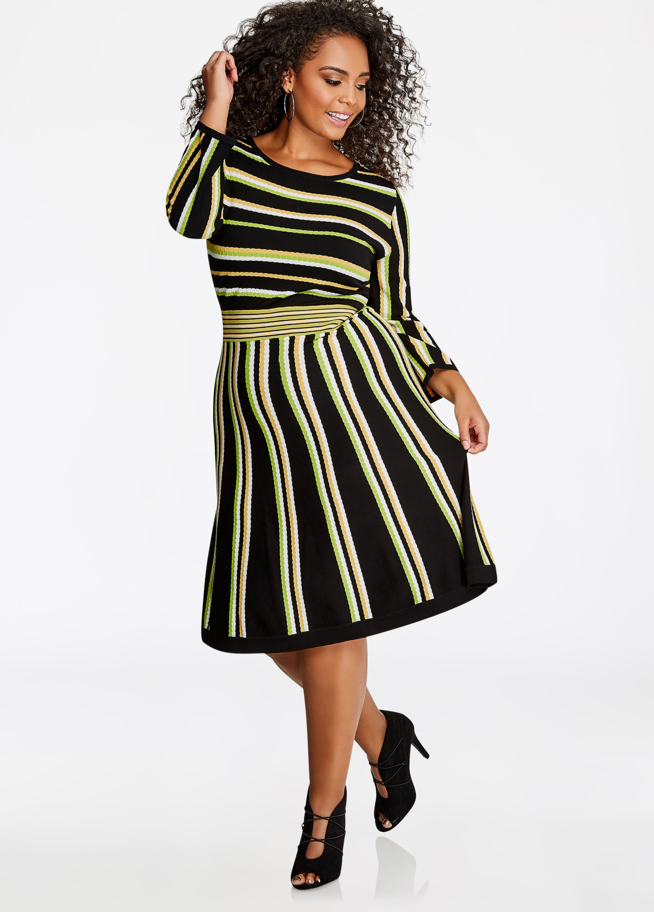 Multi-Stripe Knit Sweater Dress
