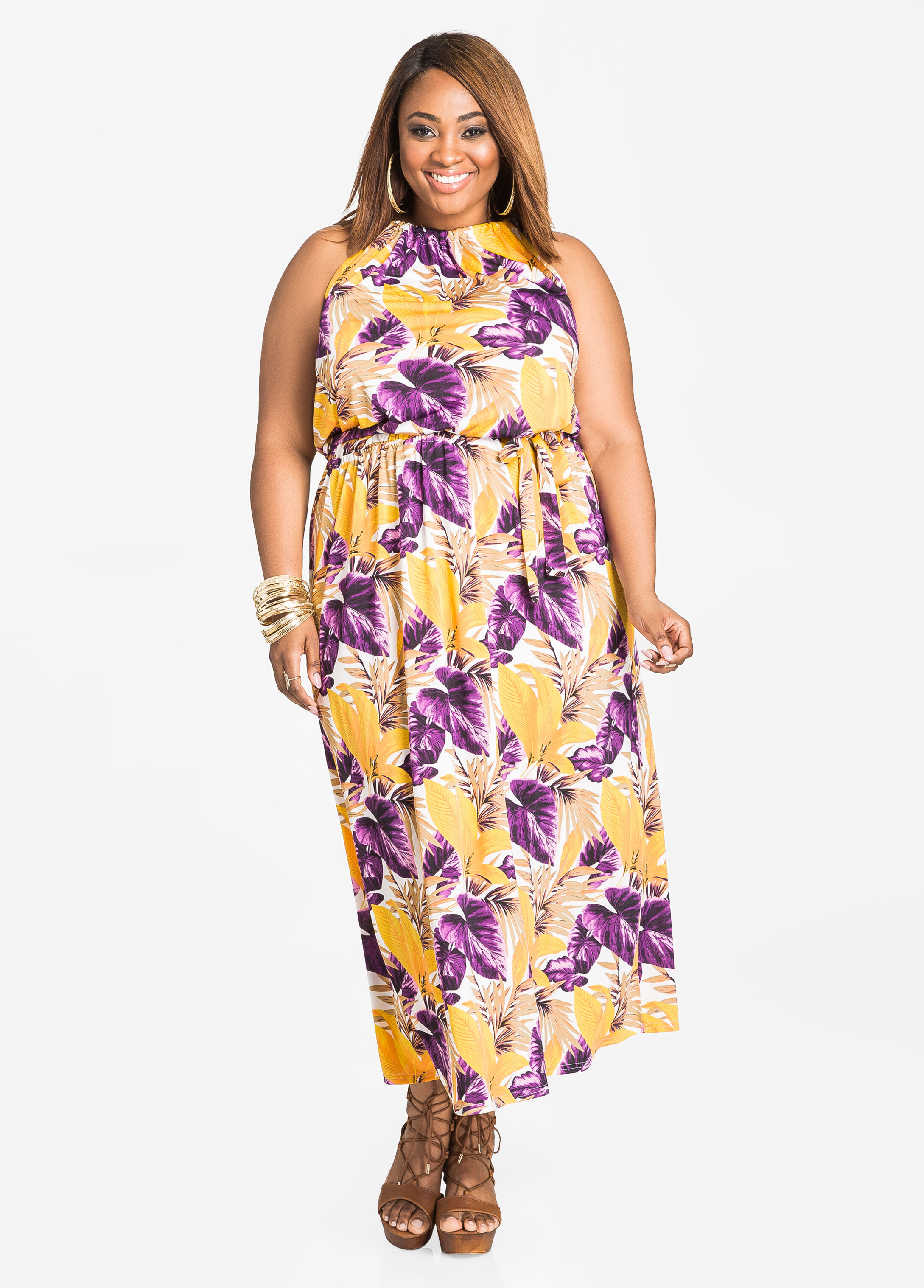 Belted Tropical Halter Maxi Dress