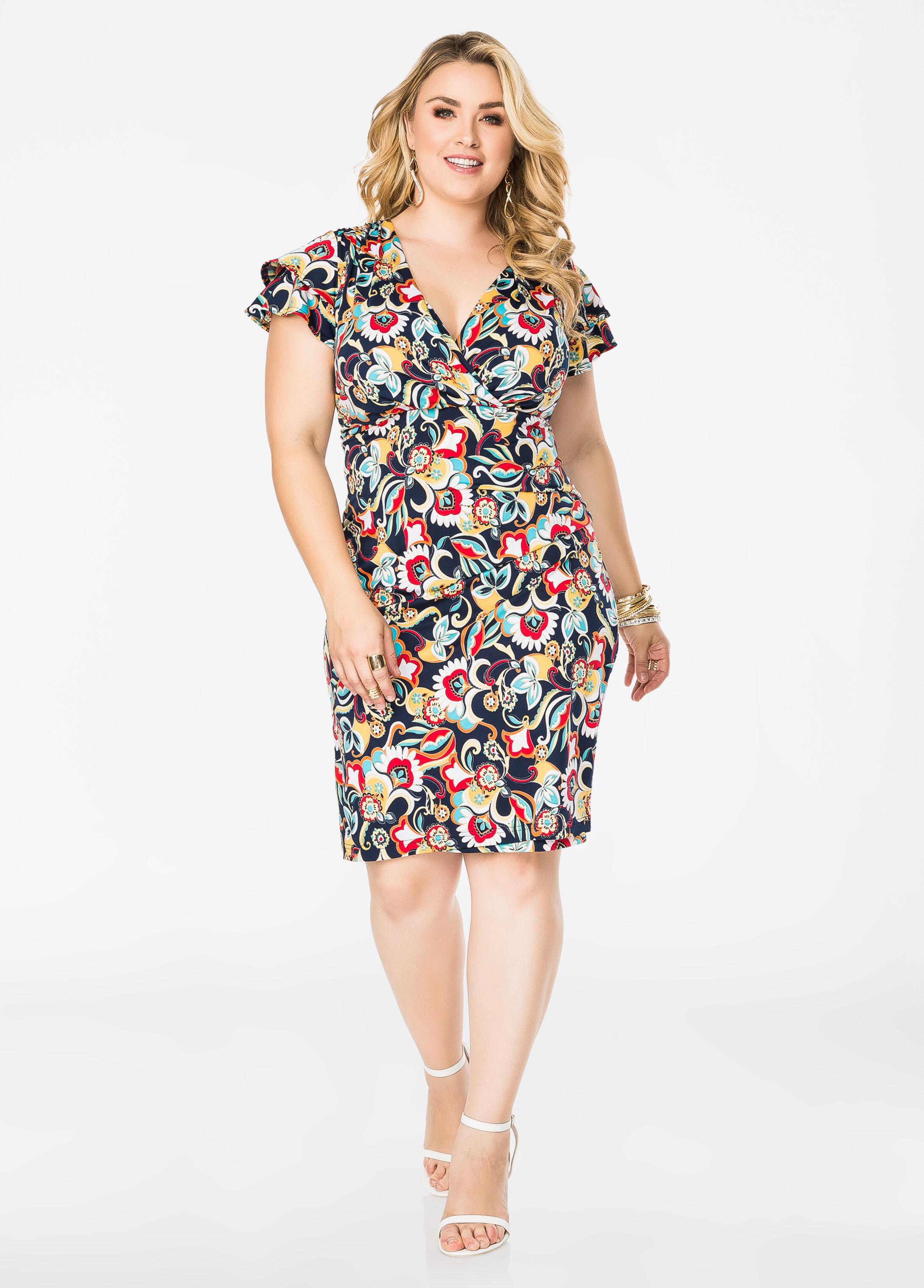 Flutter Sleeve Floral Surplice Dress