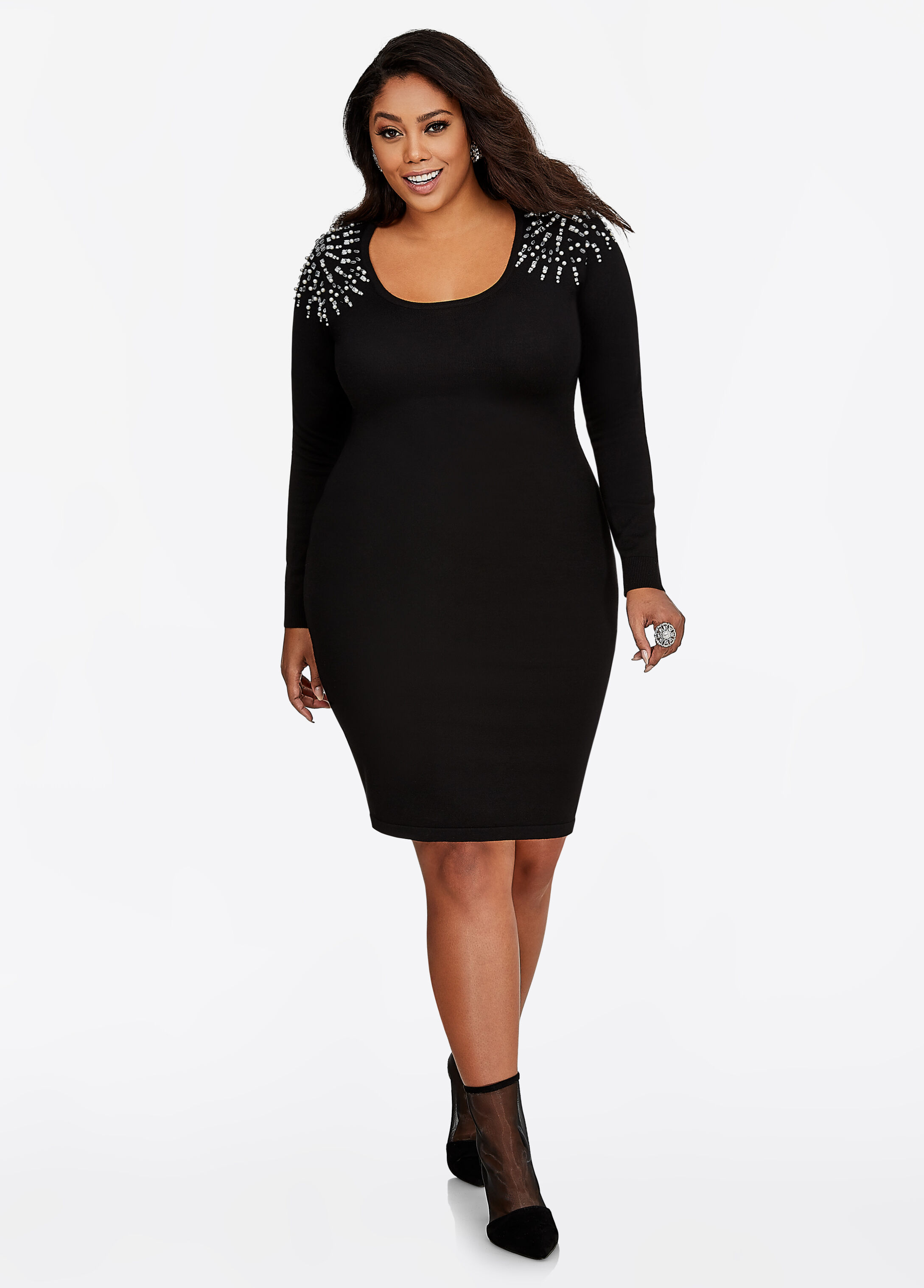 Pearl Trim Bodycon Sweater Dress