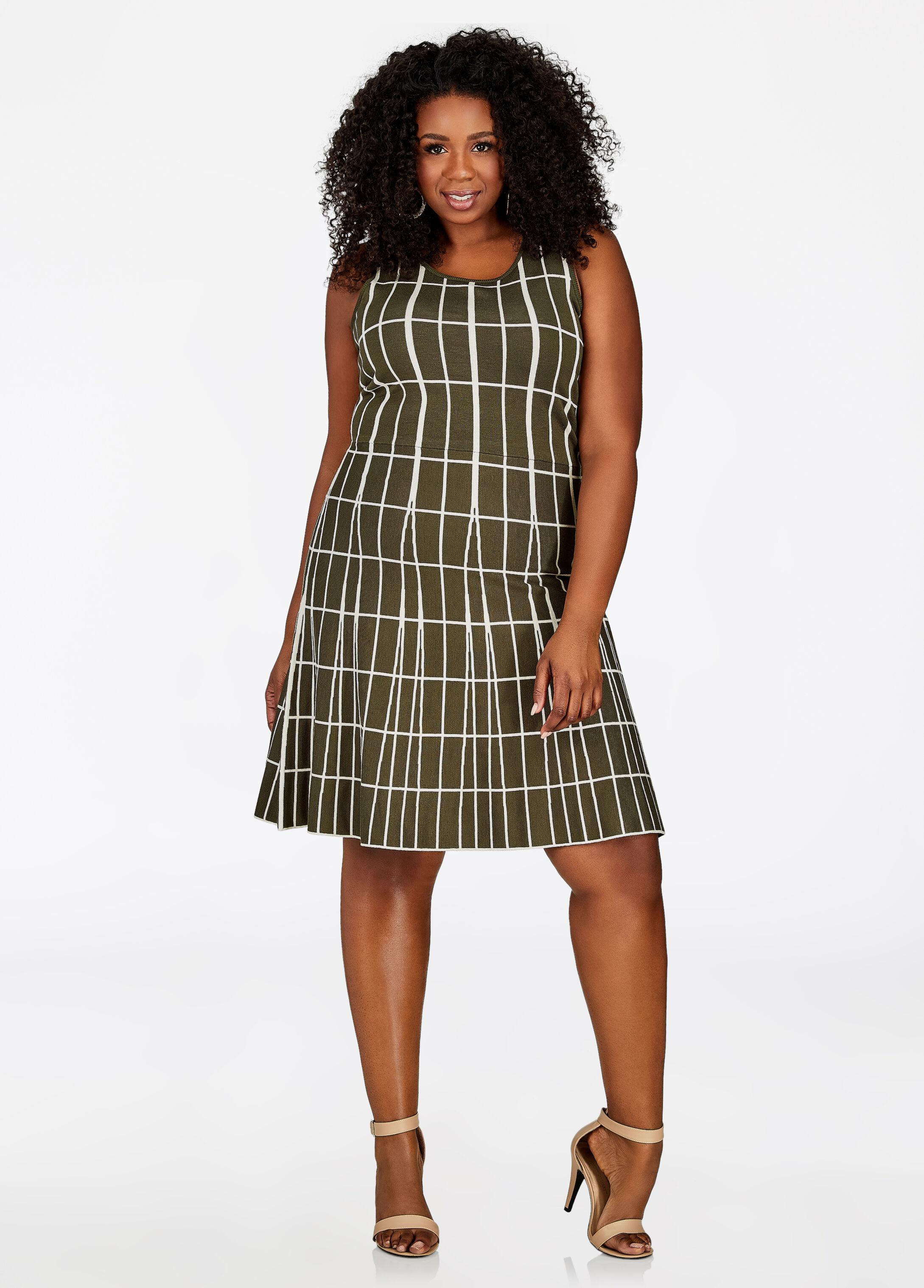 Mixed Media Grid Print Skater Dress