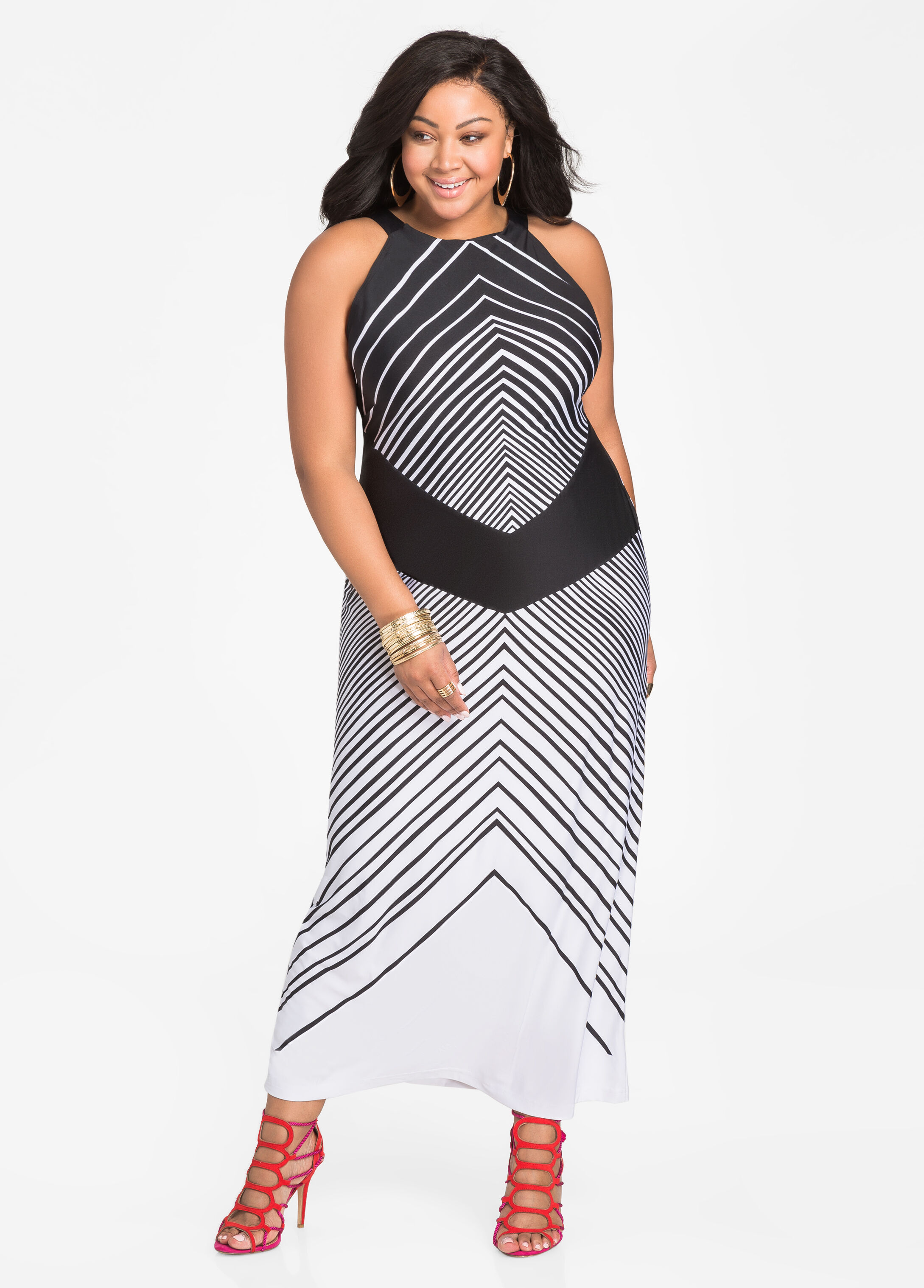 Mixed Media Stripe Halter Dress Black White - Clearance