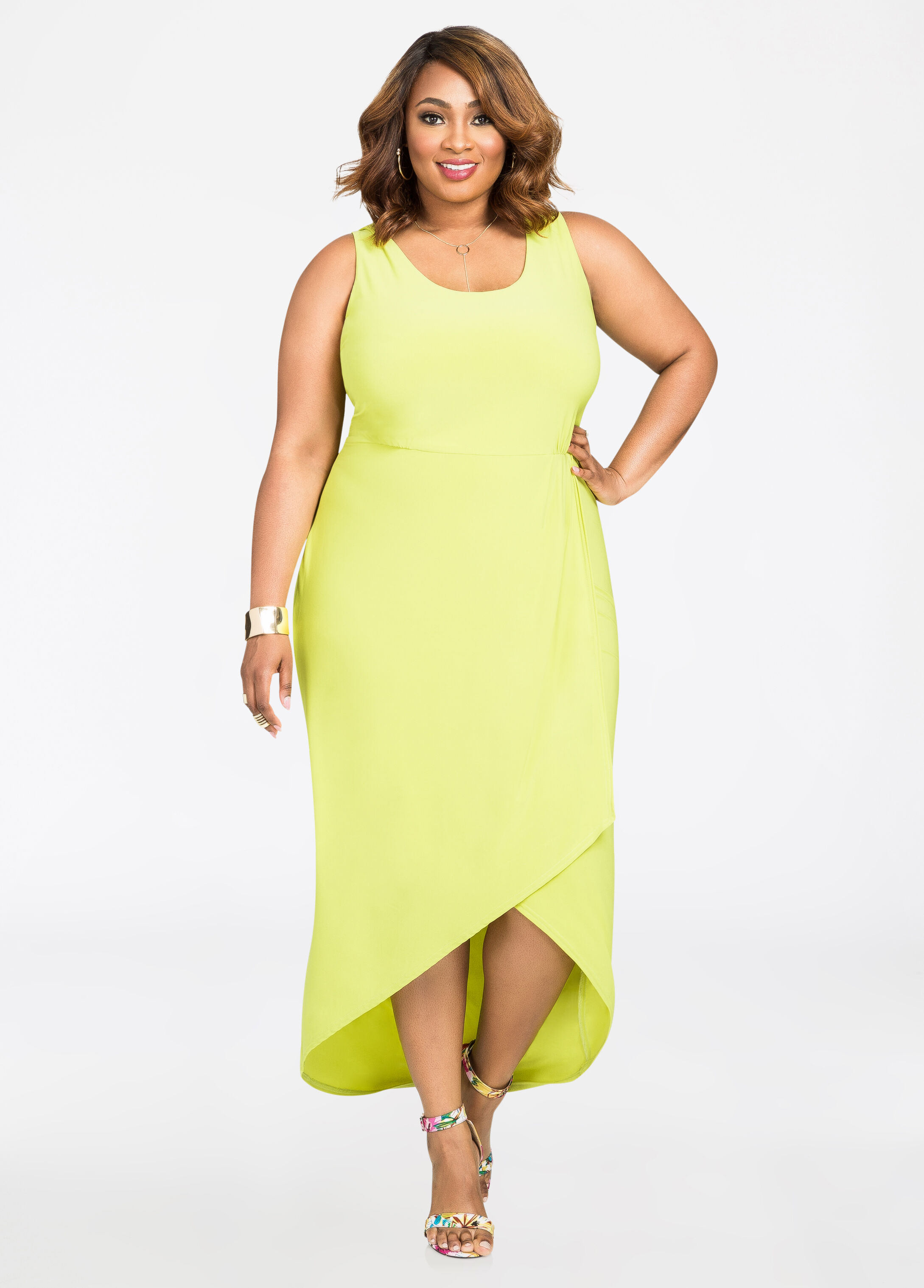 Wrap Front Hi-Lo Maxi Dress Mandalay Lime - Clearance
