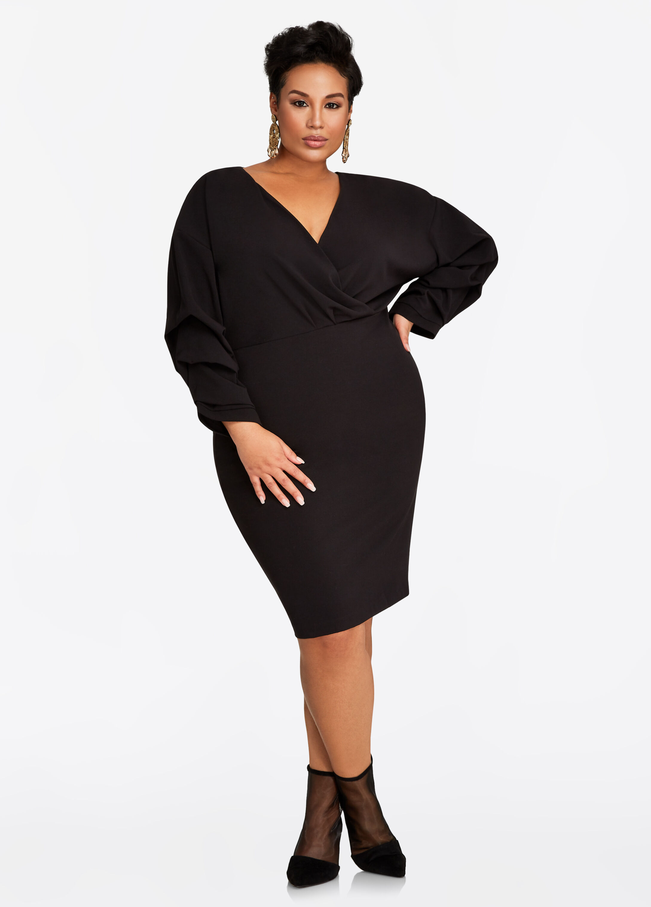 Balloon Sleeve Surplice Dress