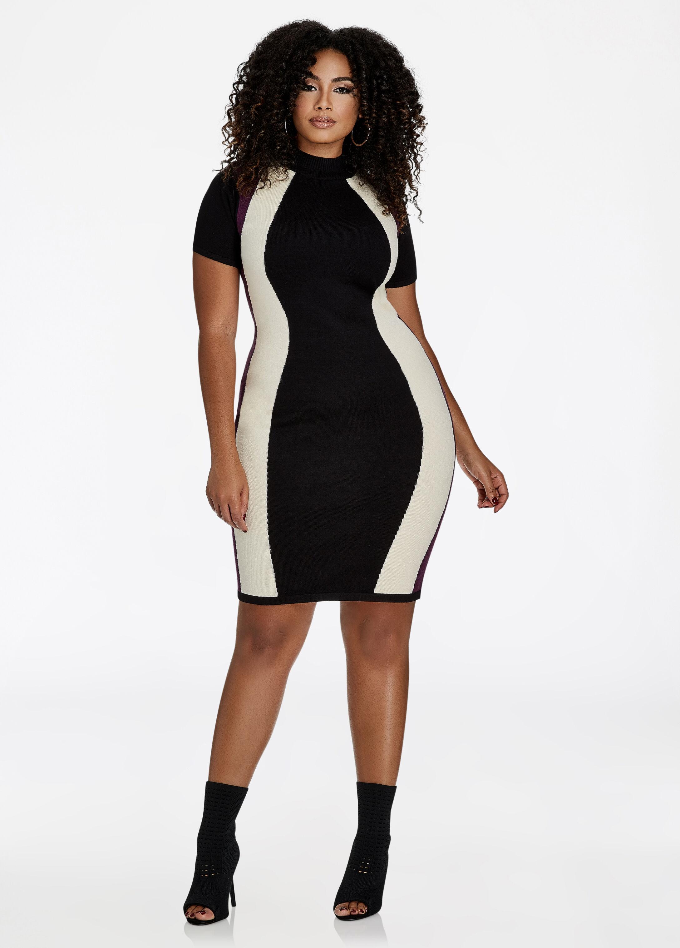 Hourglass Colorblock Sweater Dress