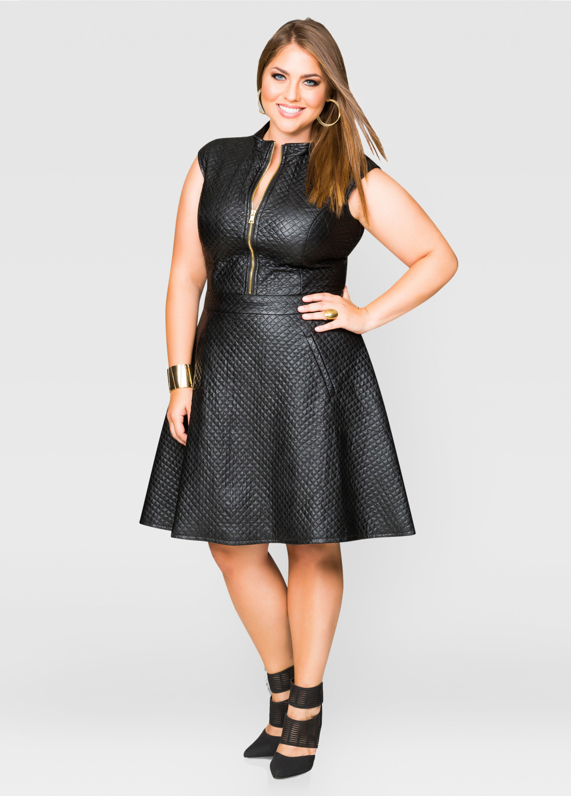Quilted Faux Leather Skater Dress-Plus Size Dresses-Ashley Stewart