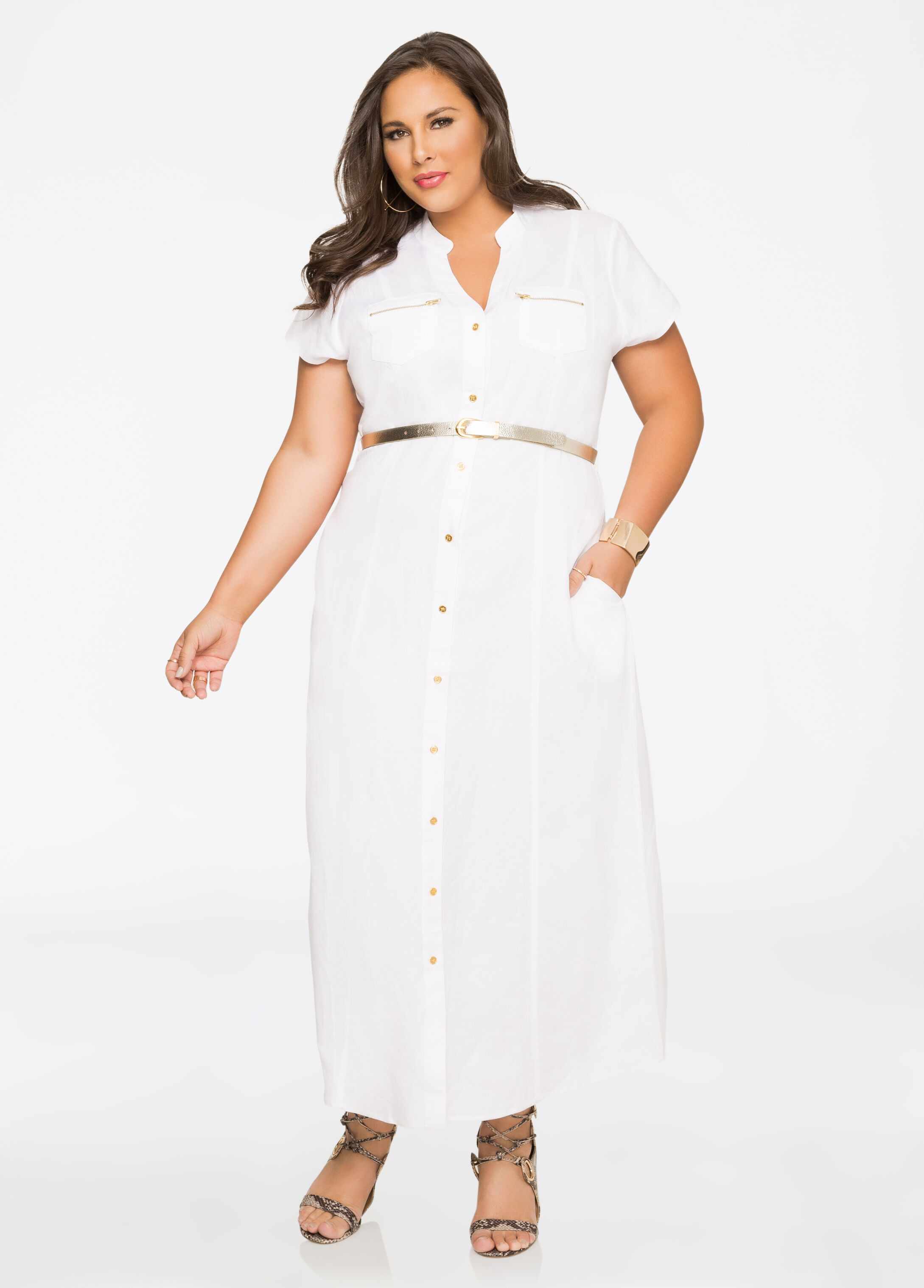 addd052ac9b Buy Belted Linen Maxi Dress White - Clearance