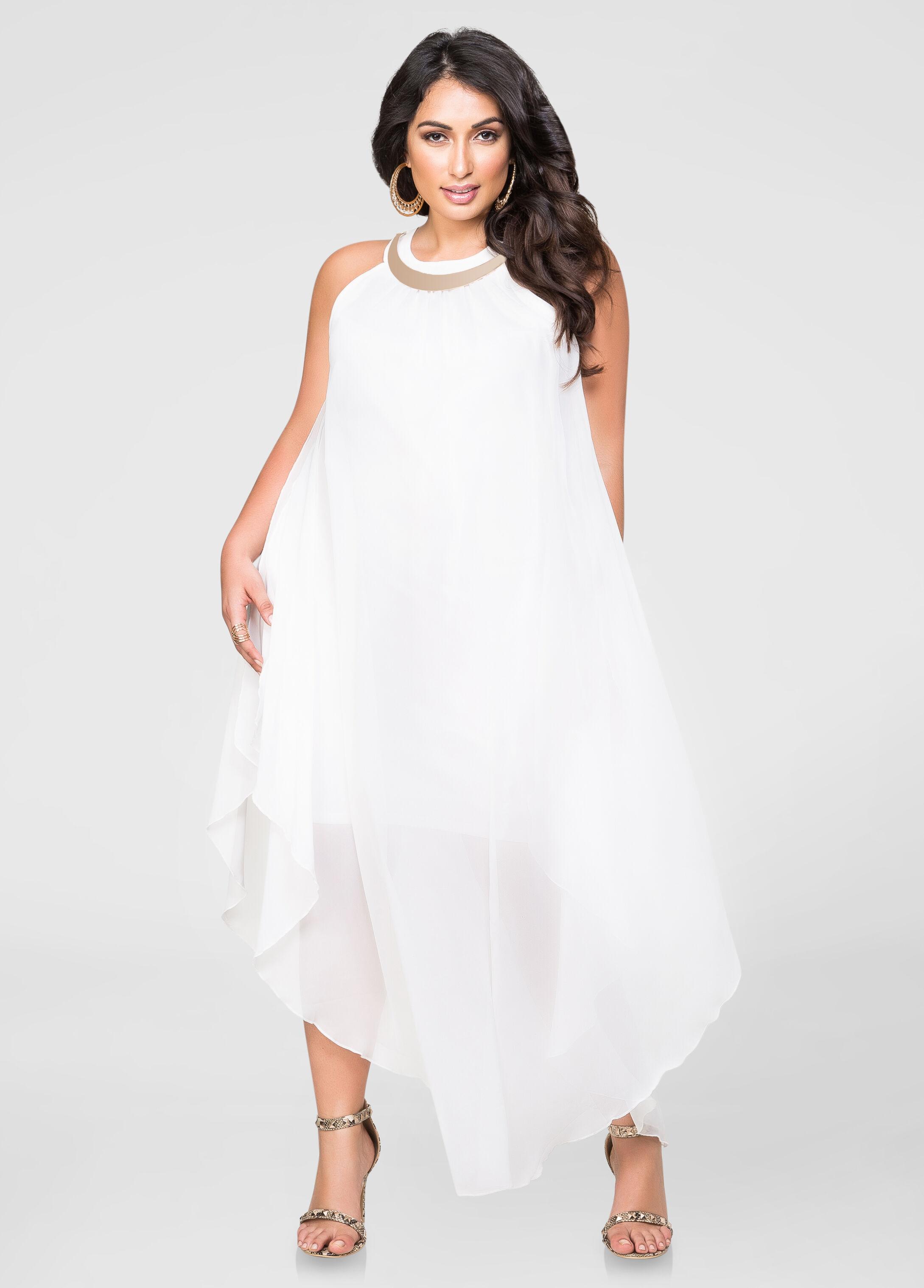 Goddess gold bar maxi dress plus size dresses ashley for Ashley stewart wedding dresses